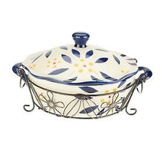 Temp-tations Old World Vivid 2qt Covered Baker w/Wire Rack