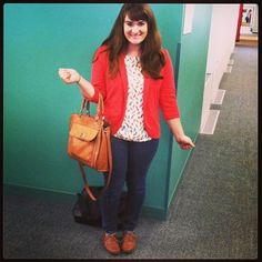 Bright colors and a messenger bag! #officestyle