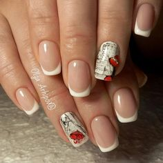 Top Latest Nail Art Designs on 25 Different Shapes and Types French Manicure Nails, French Manicure Designs, French Nails, Shellac Manicure, Elegant Nail Designs, Elegant Nails, Nail Art Designs, Beauty Elegant, Paris Nail Art