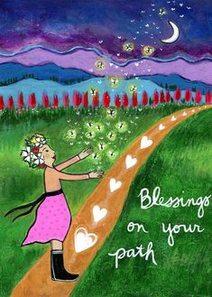 Lori Portka Blessings on your Path Birthday Greetings, Birthday Wishes, Happy Birthday, Image Yoga, Zen Attitude, Mixed Media Painting, Card Reading, Painted Rocks, Hand Painted