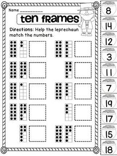 Ten Frames Cut and Paste for loads of St. Patrick's Day math fun! by Kevin Greene