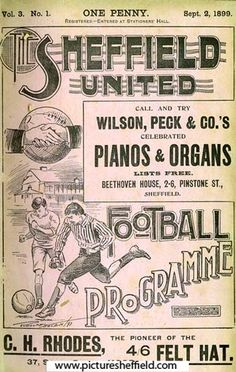 Sheffield United Football Club programme, September 1899