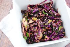 Checkout this easy Asian Red Cabbage Salad Recipe at LaaLoosh.com! Quick to prepare and loaded with flavor, it makes a great Weight Watchers side dish recipe.