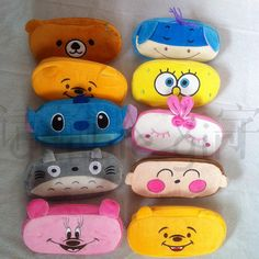 mix cartoon print korean kawaii stationery cotton plush animal face pencil bag pen cosmetic case makeup pouch novelty storage-inPencil Cases from Office & School Supplies on Aliexpress.com