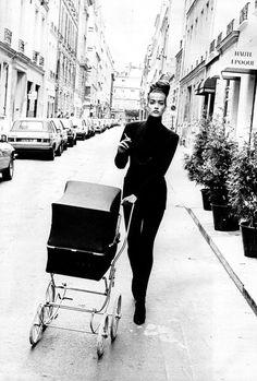 "Tatjana Patitz, early 90s, my favorite 90s ""supermodel"" in a fab photo of mummy pushing a pram whilst smoking a fag.  FABULOUS.  #90s  #Tatjana  #pram"