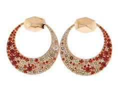 Octium Creates Series III Crescent Earrings. 18k rose gold with Red Garnets & Champagne Diamonds