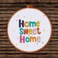 Home Sweet Home cross stitch pattern modern cross by ThuHaDesign