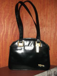 http://stores.ebay.com/The-House-Of-Two-Karat    Vintage Black Faux Leather w/Gold tone Accents Pocketbook Satchel By Tiffany #Tiffany #Satchel