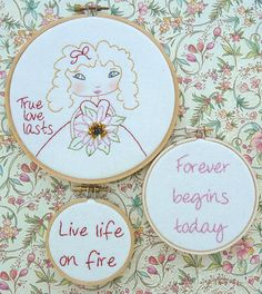 True love last Girl embroidery PDF Pattern - hoops stitchery valentine beads inspirational quotes flowers via Etsy