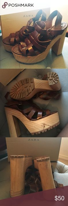 Zara Strapped High - Thick Heel Sandals Zara SANDALIA tacos track. Gently used one time. Zara Shoes Sandals