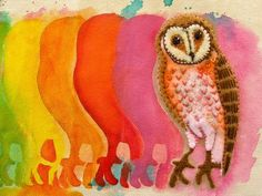 Felt barn owl stitched to painted canvas... by Natalie