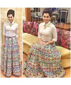 Gorgeous Taapsee Pannu Looking Beautiful In New Printed Lehenga with Shirt Style Top.