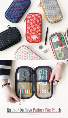 This beautiful pen pouch is absolutely perfect for school & stationery storage! On the inside consists of 2 regular pockets and 2 mesh pockets. These pockets were designed to hold all kinds of pens and pencils. The mesh pockets can be used to hold loose items like paper clips, stickers, sticky notes, erasers and more! The entire pouch can be conveniently and securely closed with the zipper closure too! Check out similar pen pouches at mochithings.com!
