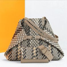 Discover our iconic Ai Handbag reimagined in beautiful woven tweed. Tote Handbags, Tweed, Shoulder Bag, Pure Products, Embroidery, Medium, Spring, Summer, Cotton