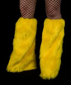 NEON YELLOW Furry Leg Warmers by DelightfullyDeviant on Etsy, $29.00