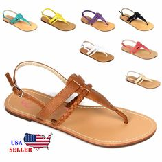 New Womens T Strap Thong Gladiator Braided Strap Flat Flip Flops Slipper Sandals #None #SummerSandal