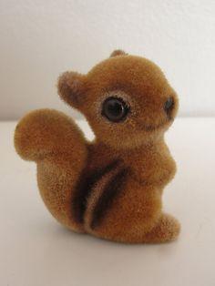 Vintage Flocked Squirrel Figurine by Josef Originals - made in Japan. $12.00, via Etsy.