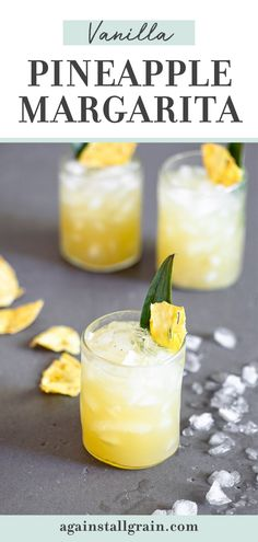This Vanilla Pineapple Margarita is a tropical cocktail that's aromatic, fruity & free of refined sugars. This recipe is paleo, gluten free and perfect for all your summer entertaining! #pineapplemargaritas #paleomargaritas