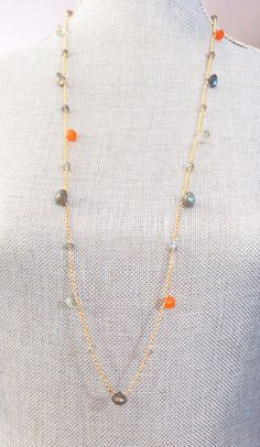 Long Gold Necklace with Green Amethyst, Labradorite and Carnelian, Bridal Gift, Labradorite Bead, Bridesmaid Necklace, UBN-263 by CJCjeweldesigns on Etsy