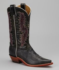Take a look at this Black Glazed Puma Snip-Toe Cowboy Boot - Women by Tony Lama on #zulily today!
