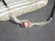 Anhänger mit Achatkugel, inkl. Lederband - Bild vergrößern Handmade Wire Jewelry, Shops, Kugel, Bracelets, Silver, Leather Cord, Jewerly, Tents, Money