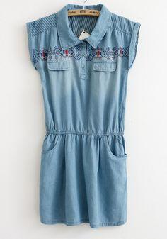Blue Embroidery Turndown Collar Bat Sleeve Denim Dress