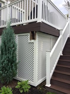 Lattice under a deck creates a private storage space for garden tools. #housetrends http://www.hmlandscaping.com