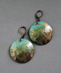 Teal brown Earrings | Polymer clay and brass. Bono Style. | Susy | Flickr
