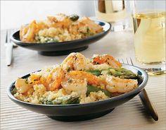 Two quinoa recipes. Chili-mojito quinoa salad and Lemony quinoa and asparagus with shrimp scampi