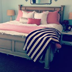 Mint bedroom, maybe neutrals instead of pink. Love the striped throw.