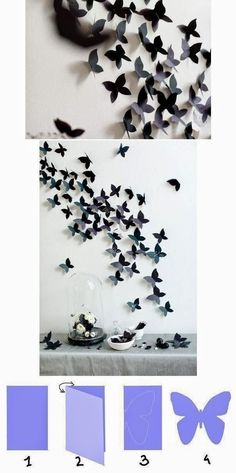 room diy paper DIY Tutorials: DIY Home Decor Tutorials- this would be beautiful for a little girls room someday! Diy Butterfly Decorations, Butterfly Wall Decor, Wall Decorations, Origami Decoration, Wall Decoration With Paper, Paper Room Decor, Paper Wall Art, Canvas Paper, Wedding Decoration