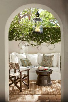 Most designs for projects come from a little inspiration, like from beautiful patios. They can really help you start thinking about what your patio could look like. Outdoor Rooms, Outdoor Gardens, Outdoor Furniture Sets, Outdoor Seating, Rustic Furniture, Outdoor Kitchens, Outdoor Sofa, Antique Furniture, Furniture Ideas