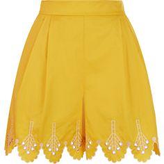 Temperley London Hika Shorts ($565) ❤ liked on Polyvore featuring shorts, skirts, saffron mix, temperley london, tailored shorts, scalloped edge shorts, high-waisted shorts and high waisted cotton shorts