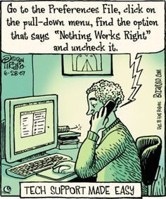 Tech Humor - If only fixing our computers was this easy. Bizarro Comic, Computer Humor, Computer Problems, Computer Science, Office Humor, Work Humor, Work Memes, Funny Cartoons, Funny Jokes