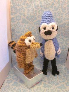 Regular Show Mordecai and Rigby Amigurumi Crochet Doll Set
