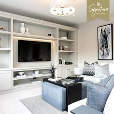 """Castle Green Homes on Instagram: """"Bespoke cabinetry can make a new build home feel tailored and unique to you. Media centres make the space look high end, whilst also…"""" Media Center, New Builds, Bespoke, Castle, Green Homes, Canning, Space, Attic, Building"""