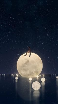 I want a bunch of moons to fall out of the sky and float in a pond in real life now