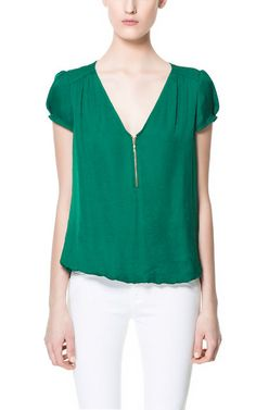 BLOUSE WITH ZIP NECKLINE - Special Prices - Woman | ZARA United States
