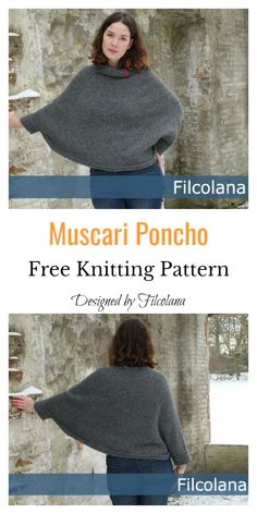 This Lovely Sleeved Poncho Free Knitting Pattern is different from other poncho patterns, as it has sleeves. It gives you the comfort of a poncho with the warmth of sleeves. Outlander Knitting Patterns, Poncho Knitting Patterns, Knitted Poncho, Easy Knitting, Loom Knitting, Knitting Machine, Scarf Patterns, Knitted Shawls, Octopus Crochet Pattern