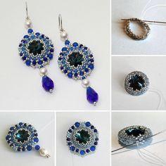 Beaded earrings tutorial / Плетем серьги «Морской бриз» с риволи и жемчугом Swarovski