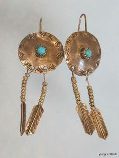 VINTAGE SOUTHWESTERN TRIBAL STERLING SILVER & TURQUOISE CONCHO EARRINGS  #navajo