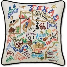 Texas Decorative Embroidered Throw Pillow. LOVE!!!