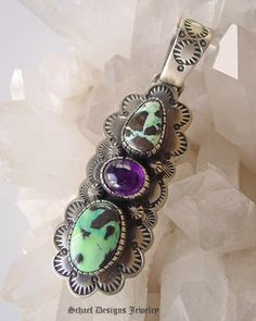 Carico Lake Blue Green Turquoise & Amethyst on stamped sterling silver pendant   | Schaef Designs Native American Southwestern & Turquoise  Jewelry | New Mexico
