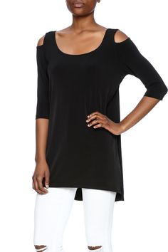 Black, cold shoulder top with a tunic length, fitted sleeves, and a flowy body.    Cold Shoulder Top by Clara Sunwoo. Clothing - Tops - Tunics North Dakota