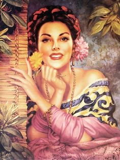 She'd heard of gringos who liked Mexican women, that was not such a stretch. Mexican women were some of the most beautiful in all the land. Mexican Artwork, Mexican Paintings, Mexican Folk Art, Mexican Style, Art Latino, Jesus Helguera, Art Chicano, Jorge Gonzalez, Mexican Heritage