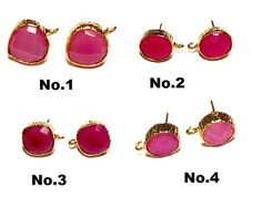 1 Pair Gold Plated Hot Pink Chalcedony Ear Post / Heart Oval