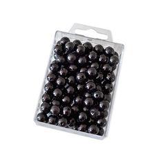 Dekoperlen 10 mm zum Fädeln - Box mit ca. 115 Stück - schwarz
