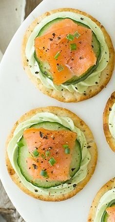Smoked Salmon & Cucumber Bites with Avocado Cream Cheese