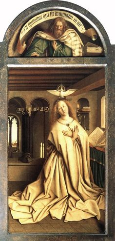 Jan van Eyck, Ghent Altarpiece (detail of the Virgin Annunciate), 1430-32, Saint Bavo Cathedral, Belgium