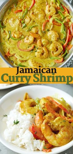 pin image for jamaican curry shrimp Curry Shrimp Jamaican, Jamaican Curry Powder, Coconut Curry Shrimp, Jamaican Recipes, Asian Recipes, Healthy Recipes, Asian Foods, Healthy Meals, Shrimp Recipes Easy